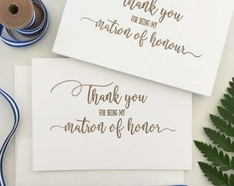 Matron of Honor Gift - Matron of Honour Thank You Card - Bridesmaid Gift - Matron of Honor Thank You - Matron of Honour Card - Wedding Cards
