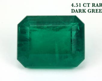 4.51 Cts Genuine Emerald for Emerald Ring Loose Emeralds Top Quality May Birthstone, Dark Green Natural Emerald, Rare Green Emerald Gemstone
