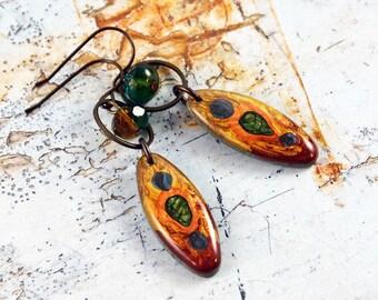 Boho  Hippie Artisan Gypsy Czech Glass Earrings Bohemian Jewelry Red Orange Green Earrings