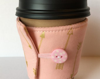 Coffee Cozy - Light Pink and Metallic Gold Arrows Coffee Cup Sleeve - Reusable Coffee Sleeve