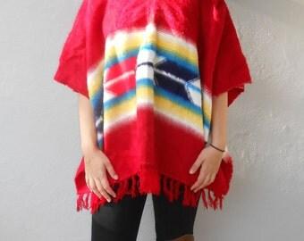 VIntage 1970s cashmere fringe southwestern poncho, One Size