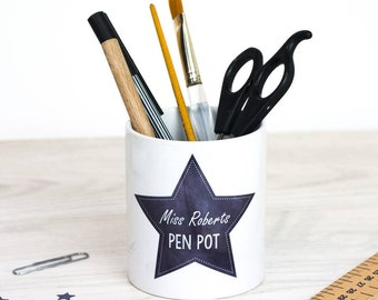 Personalised Teacher Pen Pot | Custom Pen Cup | Classroom Assistant | School | Stationery | Office | Gift | For Her | For Him