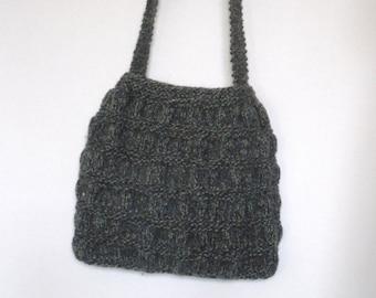 Hand Knitted Bag, Green Handbag, Recycled Bag, OOAK