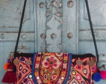 Banjara Small Crossbody handmade tribal Pompom Strap Charming Ethnic Fashion