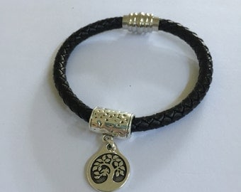 Silver Tree of Life Leather Bracelet