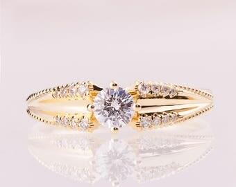 Milgrain engagement ring, Unique Engagement Ring, Diamond engagement ring, engagement ring,  Pave, Vintage Engagement Ring, Edwardian, ENG24