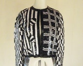 Black & White Sequin Optical Slouchy Cardigan Jacket Top