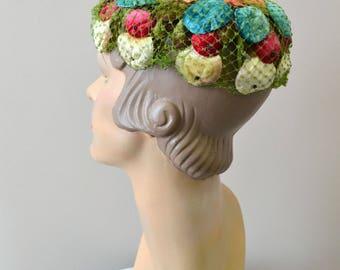 1950s Velvet Fruit and Leaves Hat