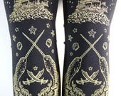 Pirate Print Footless Tights Narwhal Tattoo Large Gold on Black L Tattoo Sailor Octopus Squid Ocean Nautical Lolita