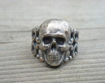 Vintage Silver Skull Filigree Ring Size 8 Vintage Skull Jewelry Gothic Goth Punk Rock n Roll Rocker Rock and Roll Heavy Metal Biker Pirate
