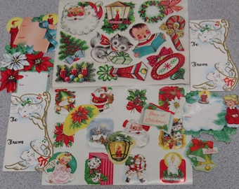 31 Cute 50's 60's Vintage Christmas Seals Labels Tags Crafts