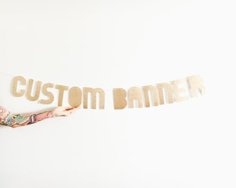 Custom Banner - Rose Gold Custom Glitter Party Banner - Personalized Garland Sign