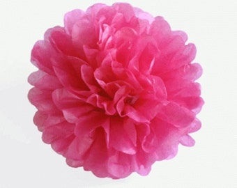 Hot Pink Tissue Pom Pom 6, 8 or 10 inch Set of 2 /Weddings/Showers/Birthdays/Parties