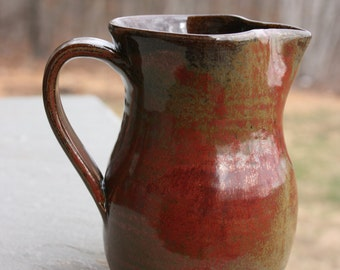 Pottery Creamer Pitcher Red Seagrove NC Pottery