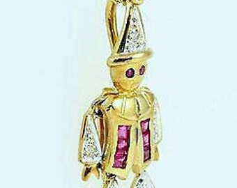 Vintage Gold, Diamond, Ruby, Clown Pendent