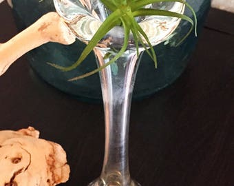 Vintage Clear Blown Glass Bubble Base Retro Bud Vase