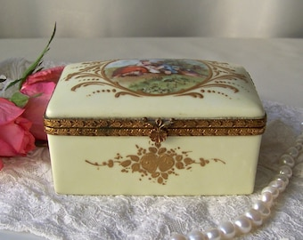Vintage French Porcelain Jewelry Box Gold Gilt Flourishes Courting Couple Rococo Design Circa 1920s