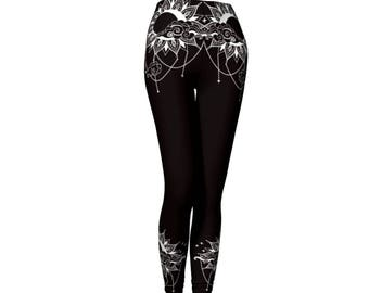 Black Bohemian Gpysy Soul Yoga Pants - Workout Pants - Fitness Pants - Running Pants - Boho Pants