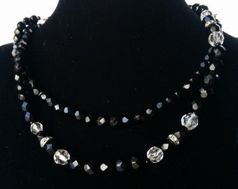 Vintage Glass Bead Necklace, Black, Clear, Rhinestones - 30 inches