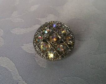 Vintage Small AB Brooch, Small Brooch, Aurora Borealis Brooch
