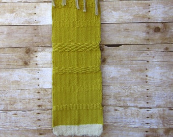 Ocher Woven Wall Hanging Boho Home Yellow and Cream Textile