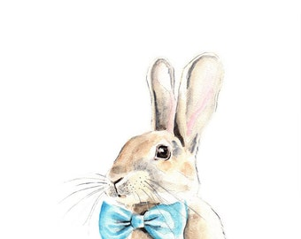 Bunny with a Blue Bow Tie. Illustration. Watercolor painting. Square art print.