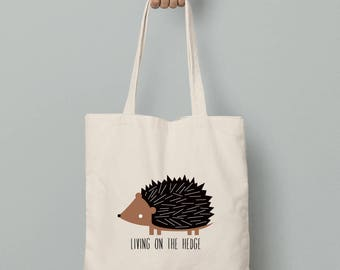 Canvas tote bag, hedgehog canvas tote bag, personalize hedgehog tote, custom wording, hedgehog gift