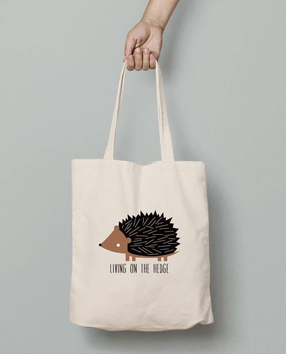 Canvas tote bag, hedgehog canvas tote bag, personalize hedgehog tote, custom wording, hedgehog gift
