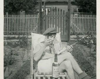 "Vintage Photo ""The Study of Fine Drink"" Snapshot Antique Photo Old Black & White Photograph Found Paper Ephemera Vernacular - 79"