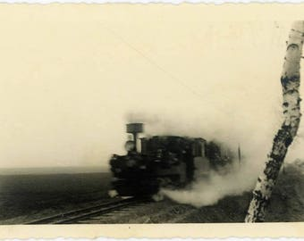 "Vintage Photo ""Here Comes the Steam...The Time Machine"" Locomotive Train Steam Cloud Smoke Railroad Blur Black & White Found Vernacular - 28"