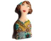 Girl Portrait brooch Lady LEA - cameo Art Brooch, unique Wearable Art, polymer clay doll brooch green turquoise girl figurine, OOAK art pin