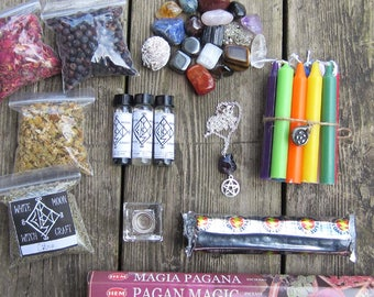 Wicca Starter Kit, witchcraft supply, pagan wiccan kit supplies, occult, crystal set, altar tools, magick, spells, wiccan herbs, incense