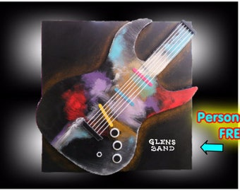 Fathers day MADE TO ORDER - Personalized Electric Guitar 3d Original Music Wall Art- Artist Skye Taylor - 36 x 36 - Skye Taylor