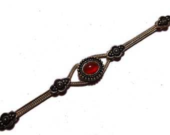 Vintage Sterling Silver Braided Carnelian Bracelet - 7-1/4 inches #2247