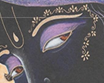 Original Krishna Syamsundara blackish Krsna drawing or prints side long glance green purple modern spiritual art bhakti yoga vedic syamarts
