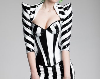 XS Black & White Striped PVC pointed shoulder shrug from Artifice