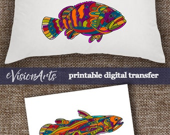 Printable Image THREE FISHES Digital Sheet to print on fabric or paper, iron-on transfer for t-shirts, tote bags, pillows, home decor