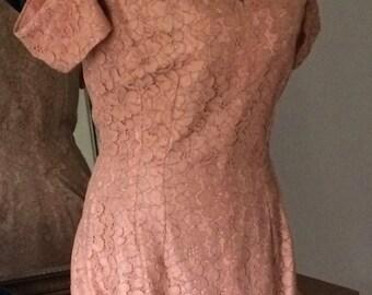 Vintage 40s Lace Dress Size 8 10 Medium Fit Flare Off the Shoulder -OCH