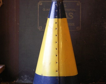 Vintage Blue and Yellow Cheerleading Megaphone - Great Man Cave Decor