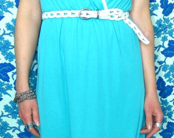 1970's Turquoise Knit Dress with White Piping