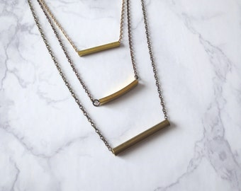 Niveau3 - Three-Strand Brass Bar Necklace; Triple Tier Layered Chains & Curved Tube Pendants (Collier Géométrique Multirang) by InfinEight
