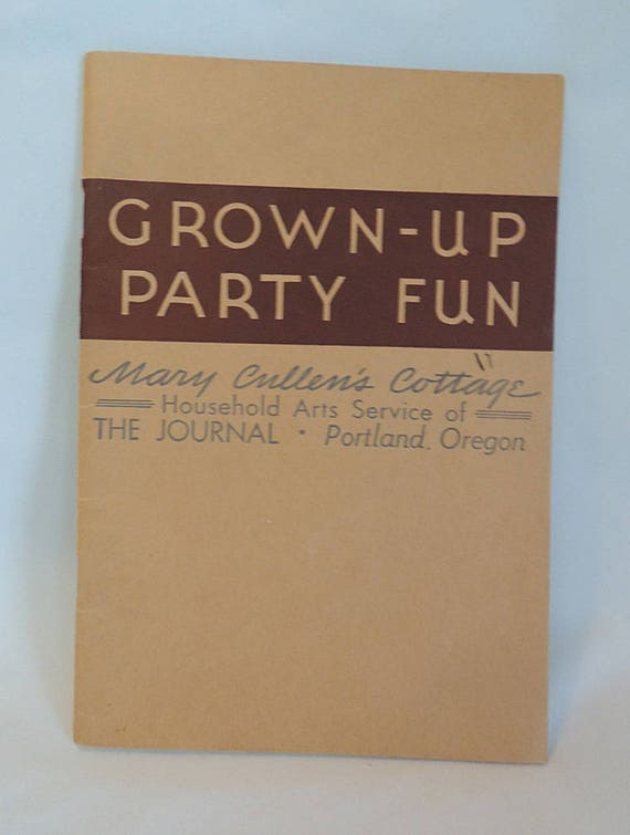 "Vintage 1930's Booklet ""Grown Up Party Fun"".. Games For Wedding, Shower & More"