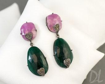 Natural Pink and Green Sapphire Earrings - Diamond Earrings - One Of A Kind Earrings - Long Drop Earrings - Bridal Earrings - OOAK