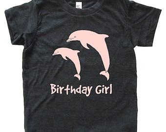 Birthday Girl Dolphin Tshirt - Kids Dolphin Pair Shirt - Tee - Youth Girls Shirt / Super Soft Kids Tee Sizes 2T 4T 6 8 10 12 - Triblend Gray