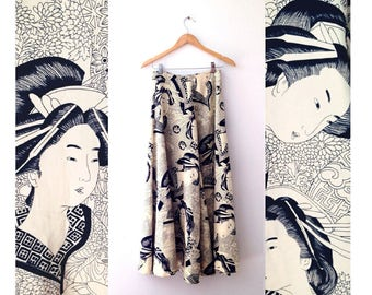 """1970s palazzo pants  super wide leg silhouette in a """"Japanese woodblock"""" geisha print size small or xsmall"""
