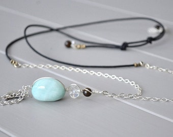 Hemimorphite Necklace, Crescent Moon Necklace, Moon Jewelry, Blue Brown Necklace