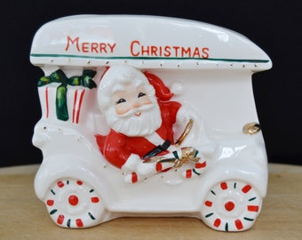 Vintage Santa Riding in Car with Candy Cane Stripes Planter Made in Japan