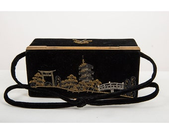 Vintage black velvet box purse / 1950s Japanese landscape / Beaded handbag