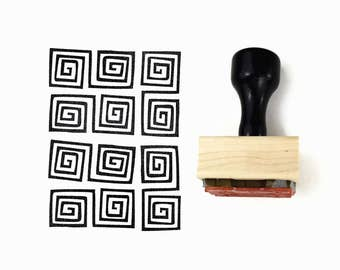 Rubber Stamp Square Spirals Pattern - Hand Drawn Geometric Pattern Stamp by Creatiate