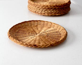 vintage woven chargers, basket weave plates